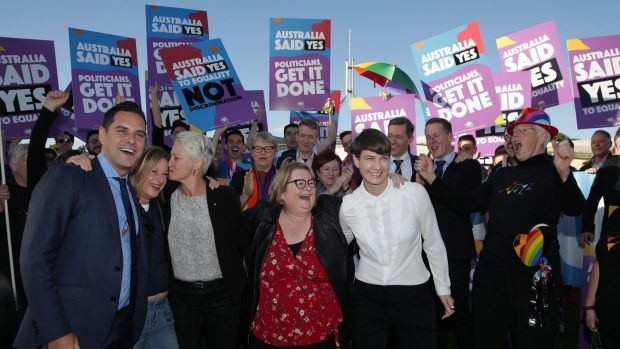 Supporters including Professor Kerryn Phelps, Christine Forster, Alex Greenwich, Magda Szubanski  and Anna Brown during ...