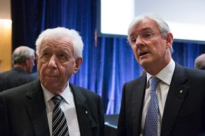 The newly knighted Frank Lowy (left) with son Steven, who runs the international business with brother Peter.