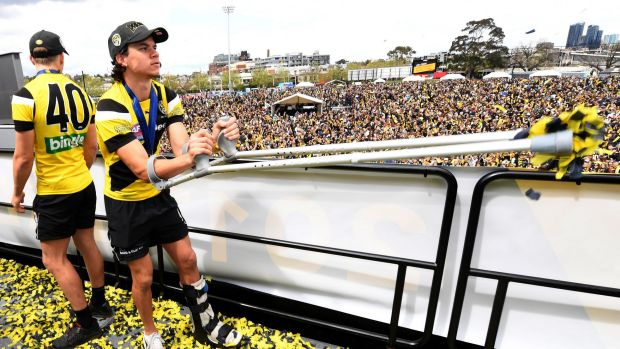 Rioli was on crutches for Richmond's premiership celebrations.