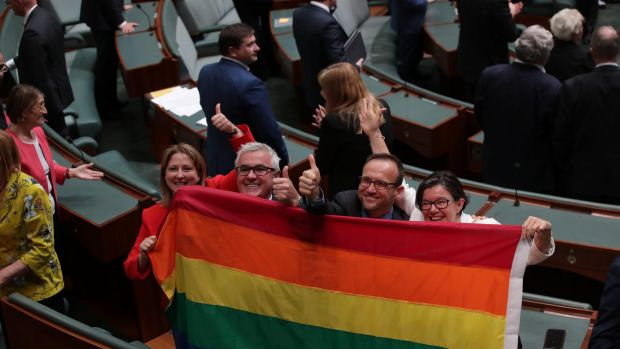 Crossbench MPs Rebekha Sharkie, Andrew Wilkie, Adam Bandt and Cathy McGowan in the House of Representatives after the vote.