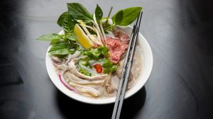 Chicken and rare beef pho at Twenty Pho Seven.