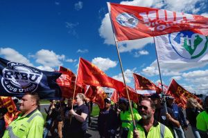 Union members marched on Webb Dock during an industrial dispute in Melbourne.