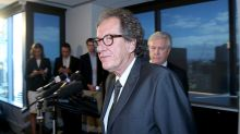 Geoffrey Rush speaking at a press conference at the HWL Ebsworth Lawyers office in Collins St Melbourne. Photo:Pat ...