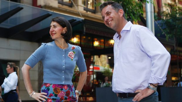 NSW Premier Gladys Berejiklian and Transport Minister Andrew Constance admire their handiwork in George Street.
