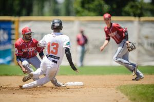 Canberra's Gabriel Arias makes it safely back to second base.