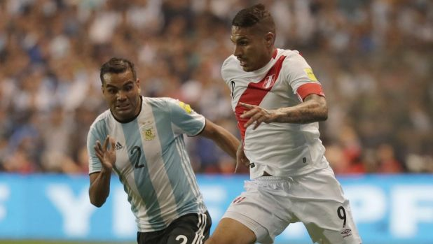 Out: Paolo Guerrero on the ball during the World Cup qualifier against Argentina in Buenos Aires, after which he tested ...