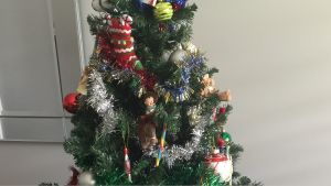 """A section of my Christmas tree, """"The Elf Vomit""""."""