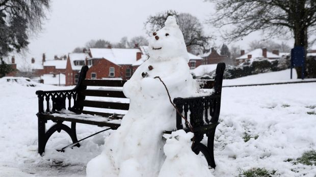 A snowman and dog on a bench in Worcester, England.
