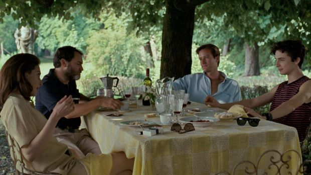 Call Me By Your Name: (from left) Annella (Amira Casar), Mr Perlman (Michael Stuhlbarg), Oliver (Armie Hammer) and Elio ...