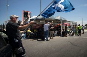 The picket line at the Port of Melbourne this week.