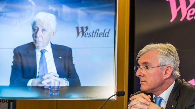 Westfield's Frank Lowy and his son Steven as they announced the proposed deal with Unibail-Rodamco. Frank Lowy spoke via ...