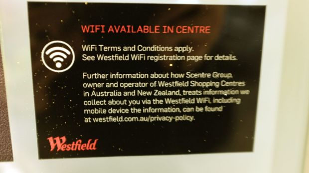 A sign advertising  free WiFi outside a Westfield shopping centre.