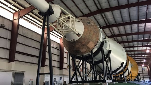 The giant Saturn V rocket which launched us to the Moon, complete with a rusted Command Module, on display at Johnson ...