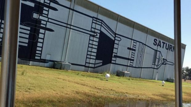 The building which houses the Saturn V at Rocket Park, as seen from the tour tram on the way to Mission Control.