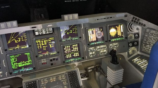 The cockpit of the Shuttle Independence.