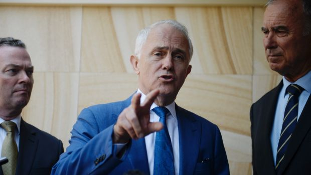 Defence Industry Minister Christopher Pyne, Prime Minister Malcolm Turnbull and Bennelong Liberal candidate John ...