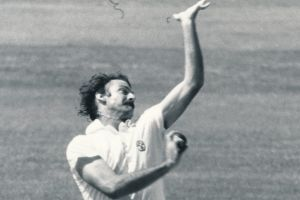 Special delivery: Australian legend Dennis Lillee in action.