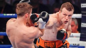 Straight shot: Horn works through the defences of UK boxer Corcoran in Brisbane.