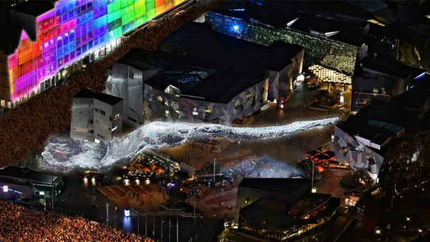 Artist's impression of what Liquid Sky will look like at Fed Square on White Night.