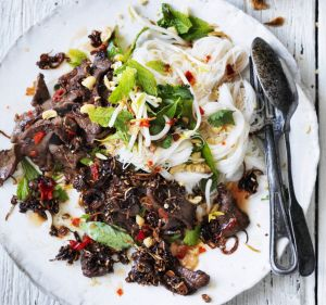 Neil Perry's salad of sauteed beef with cold rice noodles.
