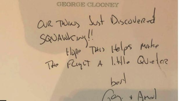George and Amal sent a note to passengers on flight