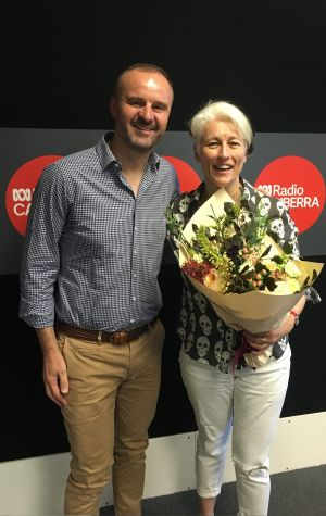 Andrew Barr after presenting outgoing ABC radio host Genevieve Jacobs with flowers last year: The average age of ABC ...