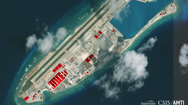 An image provided by CSIS Asia Maritime Transparency Initiative/DigitalGlobe shows a satellite image of Fiery Cross Reef ...