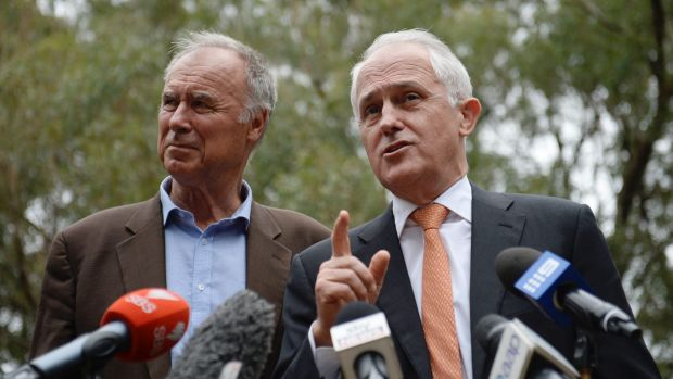 John Alexander and Prime Minister Malcolm Turnbull on the hustings in Bennelong on Friday.