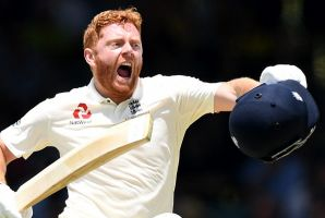 Roar: Jonny Bairstow enjoys the moment after justifying his promotion up the order with a century.