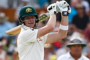 Stamping his authority: Steve Smith takes to the English attack on a now suddenly compliant WACA wicket.