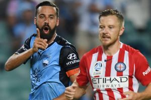 Right on cue: Alex Brosque reacts to his late goal to seal an emphatic victory.