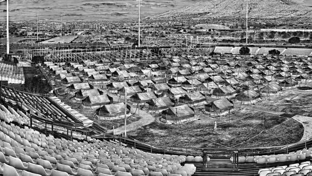Footage from a refugee camp in Greece appears in Richard Mosse's work.