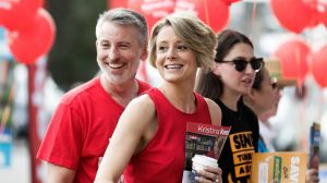 Labor candidate for Bennelong, Kristina Keneally, with her husband Ben Keneally, meet with voters at the Ryde East ...