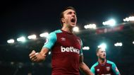 West Ham United's Mark Noble celebrates scoring his side's first goal of the game, during the English Premier League ...