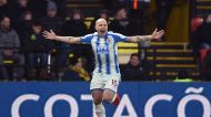 Huddersfield Town's Aaron Mooy celebrates scoring his side's second goal of the game against Watford during the English ...