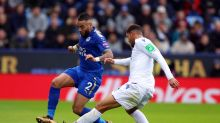 Leicester City's Danny Simpson, left, and Crystal Palace's Ruben Loftus-Cheek battle for the ball during the English ...