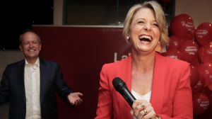 Opposition Leader Bill Shorten and Labor candidate for Bennelong Kristina Keneally address Labor supporters at the end ...