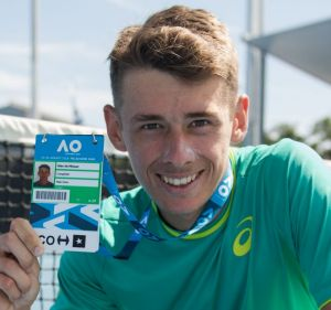 Big time: Alex de Minaur shows off his credentials after winning his way into the men's main draw at Melbourne Park.