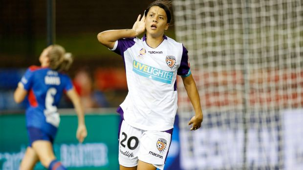 Sam Kerr scores for Perth Glory recently and will soon play for the Matildas in Perth.
