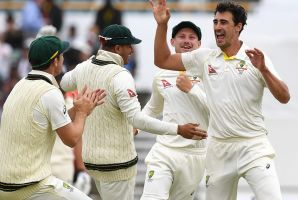 No defence to that: Mitchell Starc celebrates his miracle ball, which deviated dramatically off a crack in the WACA pitch.
