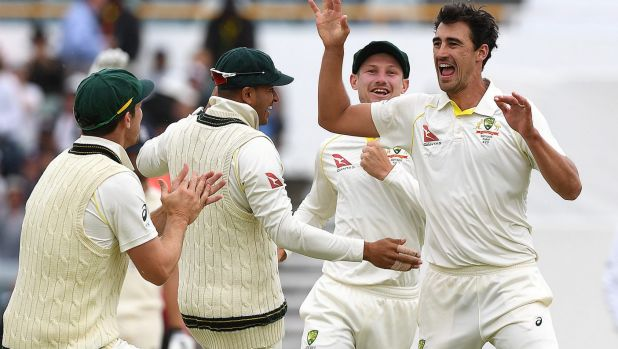 Mitchell Starc celebrates his miracle ball, which deviated dramatically off a crack in the WACA pitch.