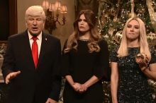 Baldwin's Trump was joined by Cecily Strong as Melania and Scarlett Johansson as Ivanka.