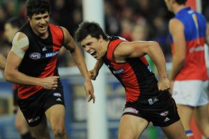 Angus Monfries and Paddy Ryder celebrate a goal in 2009.