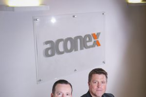 Aconex co-founders Leigh Jasper and Rob Phillpot in Melbourne.