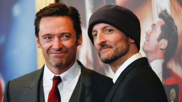 Hugh Jackman and Michael Gracey at  the world premiere of The Greatest Showman on board the  Queen Mary 2 in New York ...