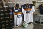 The ACT Brumbies jersey for the 2018 Super Rugby season, left, next to a heritage jersey from 1996.