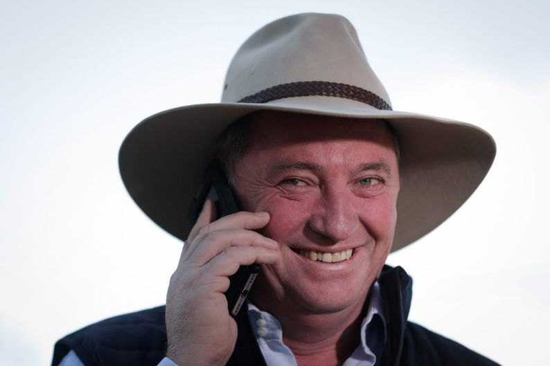 Barnaby Joyce does a television interview with 'Insiders', the morning after declaring victory in the New England ...