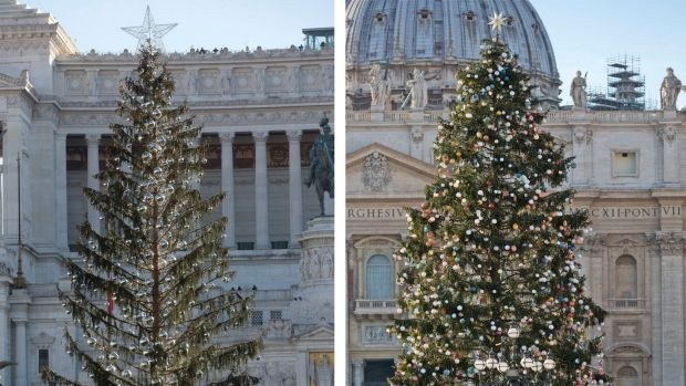 Rome's official Christmas tree, left, placed in Piazza Venezia Square and at right the one placed in St. Peters's Square ...