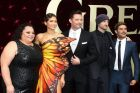 Keala Settle, Zendaya, Hugh Jackman, director Michael Gracey, and Zac Efron at the Australian premiere of The Greatest ...