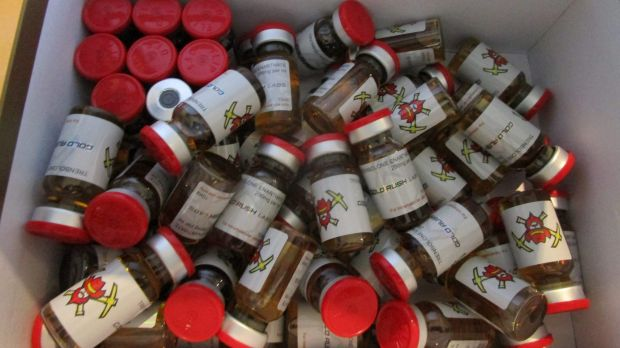 More than 200 vials of anabolic steroids were seized.